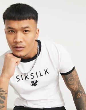 Белая спортивная футболка с прямым низом, логотипом по центру и круглым вырезом -Белый SikSilk