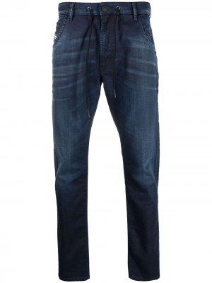 Зауженные джинсы Krooley с кулиской Diesel. Цвет: синий