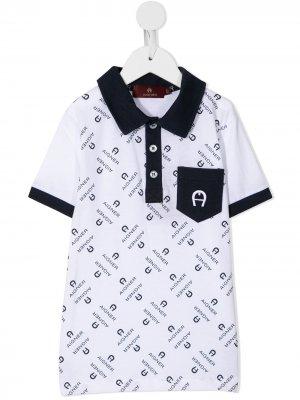 Рубашка поло с логотипом Aigner Kids. Цвет: белый