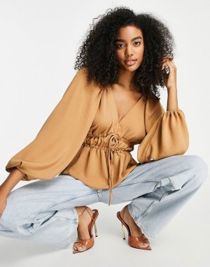 Топ бежевого цвета с длинными рукавами-кимоно, V-образным вырезом и завязкой спереди -Светло-бежевый цвет ASOS DESIGN