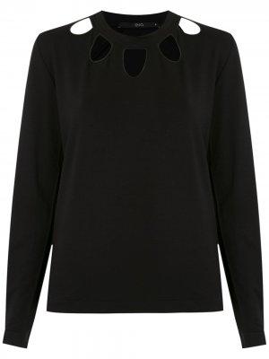 Блузка с вырезами на воротнике Eva. Цвет: черный
