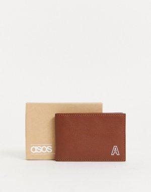 Светло-коричневый кожаный кошелек для карт с инициалом А ASOS DESIGN