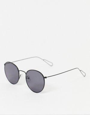 Черные круглые солнцезащитные очки Explore-Черный цвет Weekday