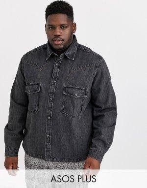 Выбеленная черная джинсовая oversize-рубашка в стиле вестерн Plus-Черный ASOS DESIGN