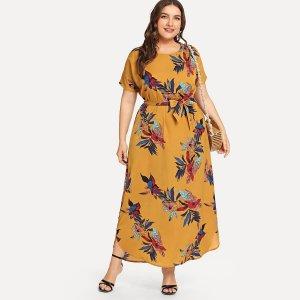 Большое платье с рисунками цветов SHEIN. Цвет: жёлтые