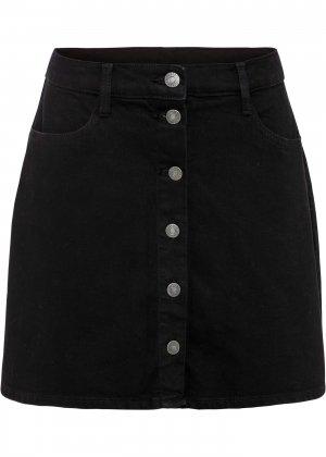 Юбка джинсовая bonprix. Цвет: черный
