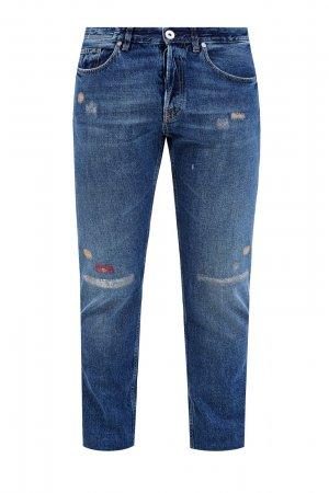 Прямые джинсы с вышитым декором ручной работы ELEVENTY. Цвет: синий