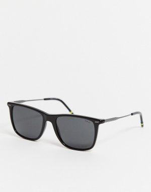 Черные солнцезащитные очки в квадратной оправе OPH4163-Черный Polo Ralph Lauren