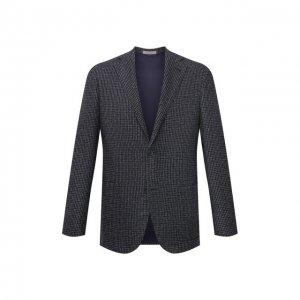 Пиджак из шерсти и шелка Corneliani. Цвет: синий