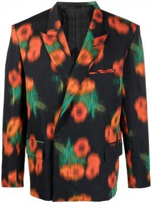 Пиджак с абстрактным принтом Kenzo. Цвет: черный