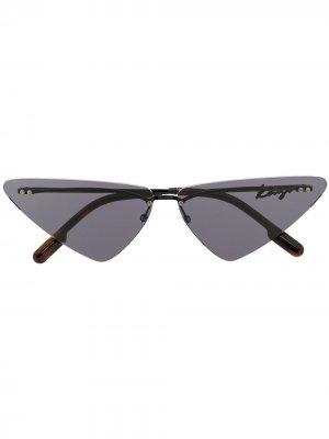 Солнцезащитные очки в треугольной оправе Kenzo. Цвет: черный