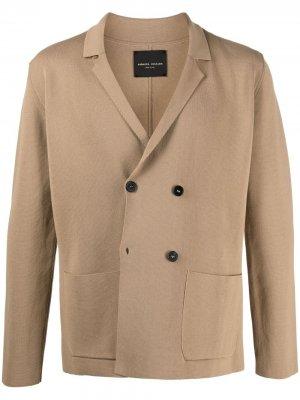 Двубортный пиджак прямого кроя Roberto Collina. Цвет: коричневый