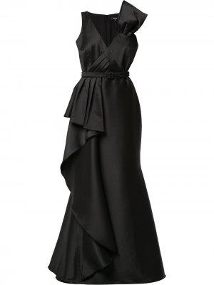 Платье с плиссировкой Badgley Mischka. Цвет: черный