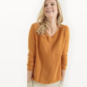 Пуловер с V-образным вырезом спереди и сзади, из хлопка льна La Redoute Collections. Цвет: темно-синий