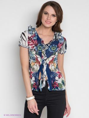 Блузка DRS Deerose. Цвет: синий, белый, розовый