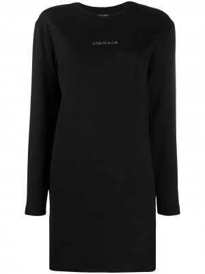 Платье с длинным рукавами и логотипом Calvin Klein. Цвет: черный