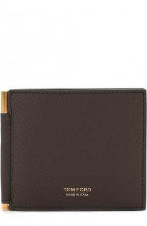 Кожаный зажим для купюр с отделениями кредитных карт Tom Ford. Цвет: темно-коричневый