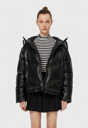 Куртка кожаная Stradivarius. Цвет: черный