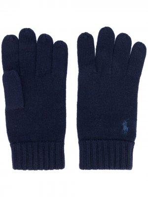 Перчатки с вышитым логотипом Polo Ralph Lauren. Цвет: синий