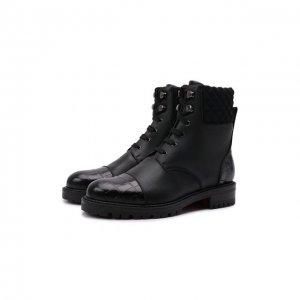 Кожаные ботинки Mayr Christian Louboutin. Цвет: чёрный