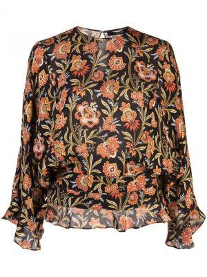 Блузка с короткими рукавами и оборками на подоле Derek Lam. Цвет: черный