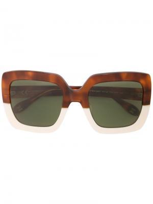 Солнцезащитные очки в квадратной оправе Carolina Herrera. Цвет: коричневый