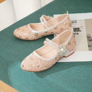 Для девочек Туфли мэри джейн блесток SHEIN. Цвет: розовые