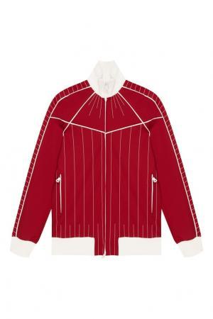 Красная куртка-бомбер с полосками Valentino. Цвет: красный
