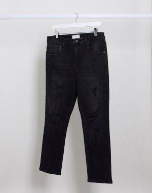 Рваные суженные книзу джинсы черного цвета -Черный ASOS DESIGN
