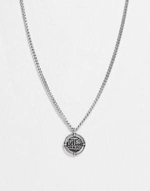 Серебристый кулон в виде старинной монеты Icon Brand