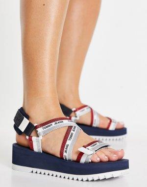 Темно-синие сандалии с разноцветной отделкой и логотипом -Темно-синий Tommy Jeans