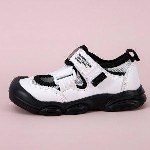 Дышащие спортивные сандалии для девочек SHEIN. Цвет: черный и белый
