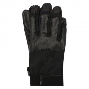 Кожаные перчатки Stone Island. Цвет: чёрный