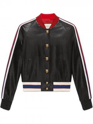 Куртка-бомбер с вышивкой Gucci. Цвет: черный