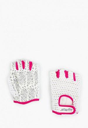 Перчатки для фитнеса Starfit. Цвет: белый
