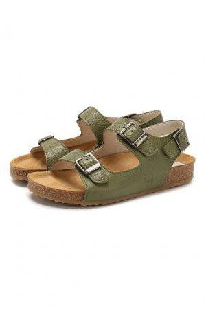 Кожаные сандалии Il Gufo. Цвет: зелёный