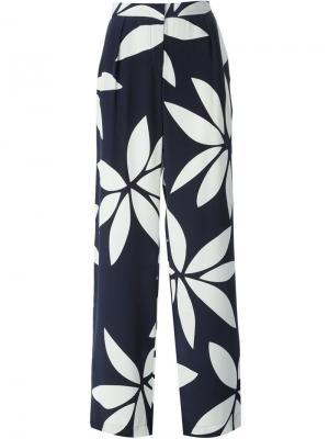 Широкие брюки с цветочным принтом Issa. Цвет: синий