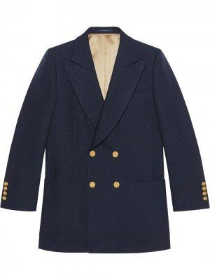 Фактурный пиджак Gucci. Цвет: синий