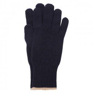 Кашемировые перчатки Brunello Cucinelli. Цвет: синий