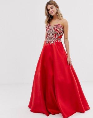 Платье макси с пышной юбкой -Красный Jovani