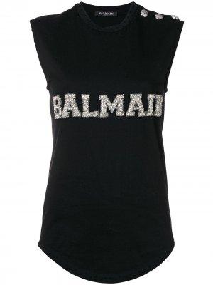 Logo embroidered tank top Balmain. Цвет: черный