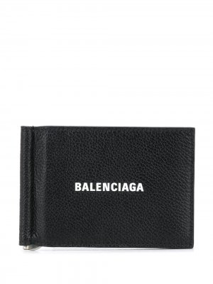 Бумажник с зажимом для купюр Balenciaga. Цвет: 1090 черный/l белый
