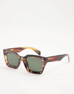Черепаховые солнцезащитные очки в массивной оправе -Коричневый цвет ASOS DESIGN