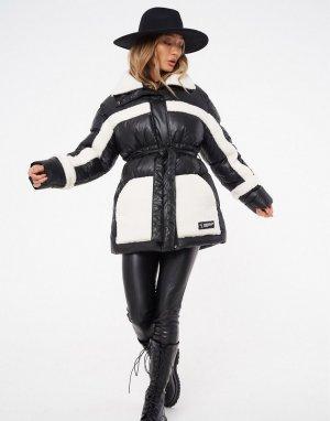 Утепленная куртка черного цвета с контрастными вставками из овчины и поясом -Многоцветный The Couture Club