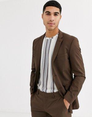 Облегающий пиджак -Коричневый цвет Esprit