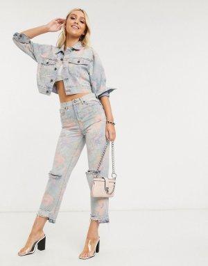 Джинсы в винтажном стиле с цветочным принтом Blank NYC-Голубой NYC