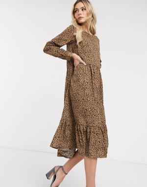 Платье-трапеция макси с леопардовым принтом и оборкой на подоле -Мульти Never Fully Dressed