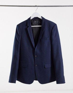 Приталенный пиджак с узором в елочку wedding-Темно-синий ASOS DESIGN