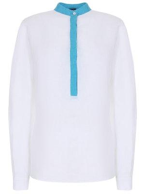 Блуза льняная KITON. Цвет: белый