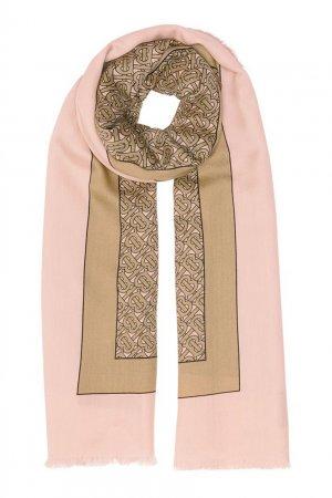 Розовый шарф с монограммой Burberry. Цвет: розовый